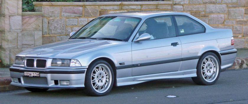 1995–1999 BMW M3 (E36) coupe, photographed in Cronulla, New South Wales, Australia.