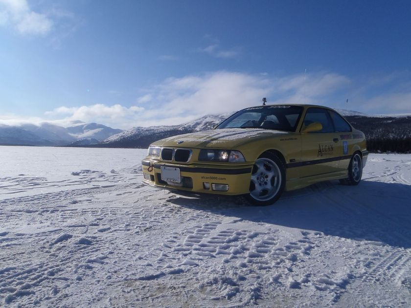 BMW E36 M3 in the Yukon, Canada, while on the Alcan Winter Rally