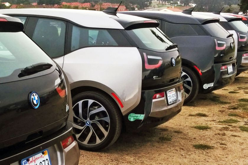 BMW i3 SFO white & green sticker zoom in