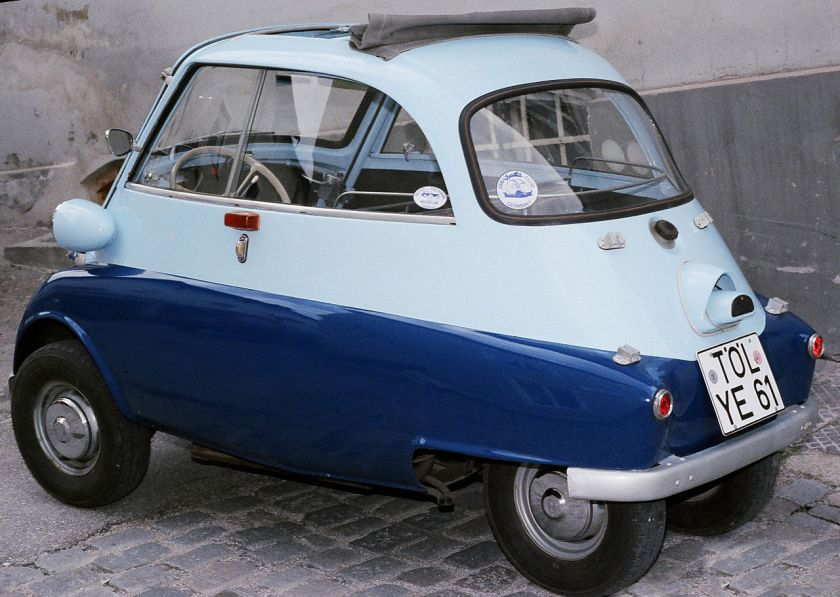 BMW Isetta 300 4-wheel version shot in Bad Tölz, Germany circa 1987 sideview