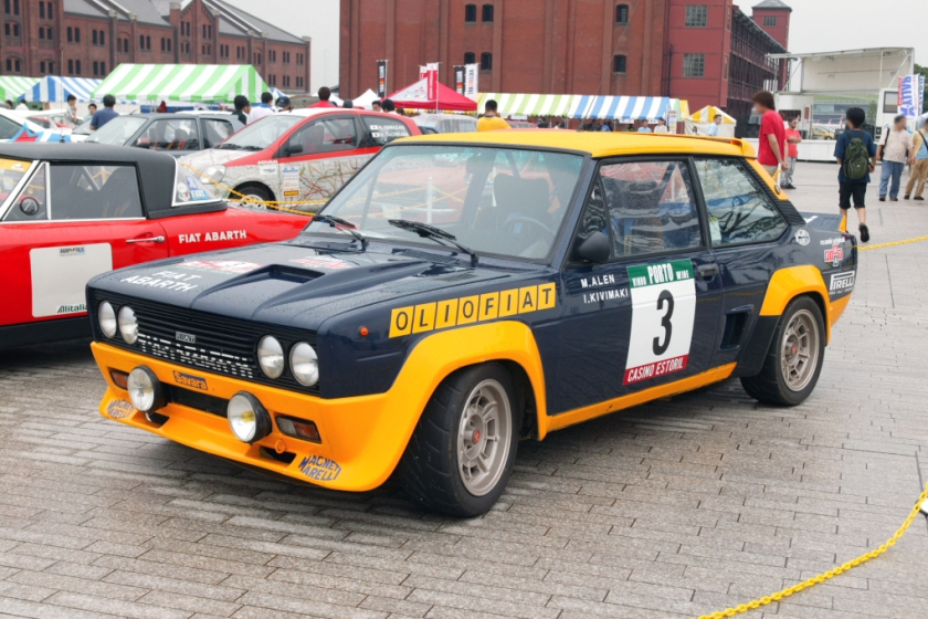 Fiat Abarth 131 rally car with OlioFiat livery