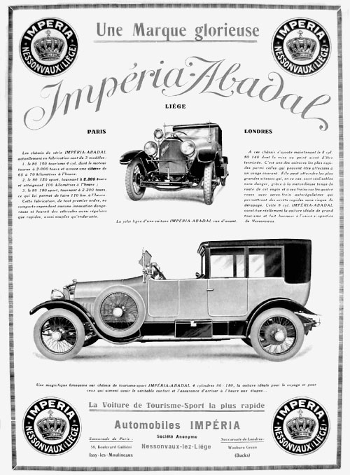 Impéria-Abadal 1922 (4 cylindres, 3,6 litres).