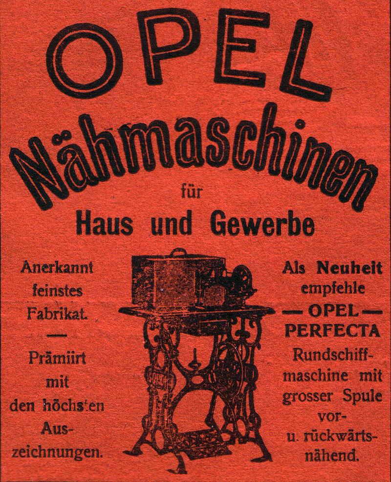 1901 Opel Nähmaschinen