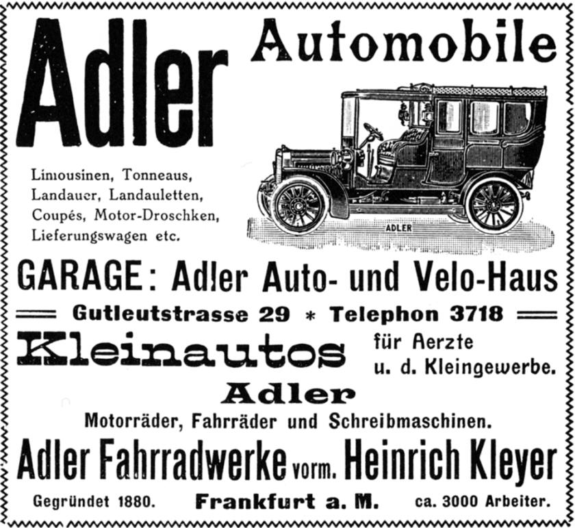 1907 Werbung Adlerwerke Frankfurt
