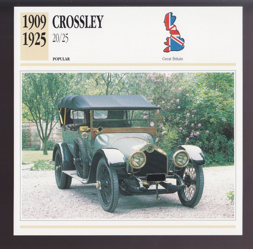 1909-1925 Crossley 20-25 British Car Photo Spec Sheet Info ATLAS CARD