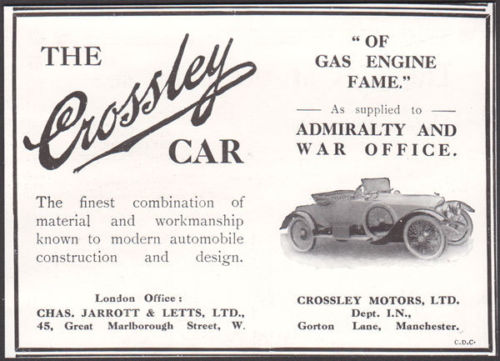1914 Ad Crossley Motors Car Auto Of Gas Engine Fame