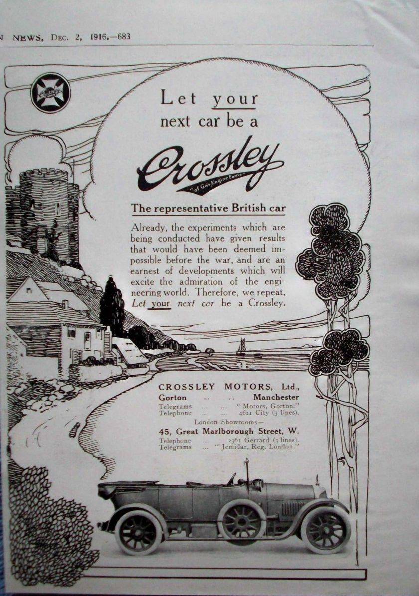 1916 Crossley Motors Automobile Let Your Next Car Be a Crossley ad
