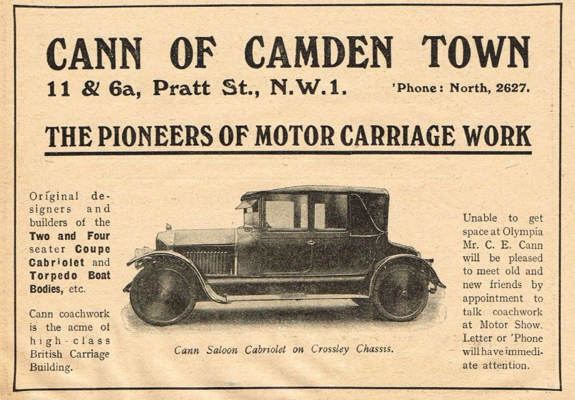 1919 Old Vintage Cann Coachwork Crossley Saloon Cabriolet Car Photo Print AD