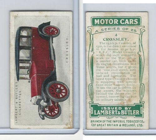 1922 L8-61 Lambert, Motor Cars, 1922, #4 Crossley