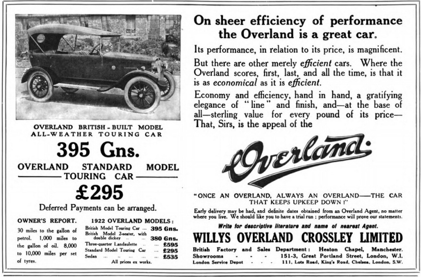 1922 Willys Overland Crossley ad