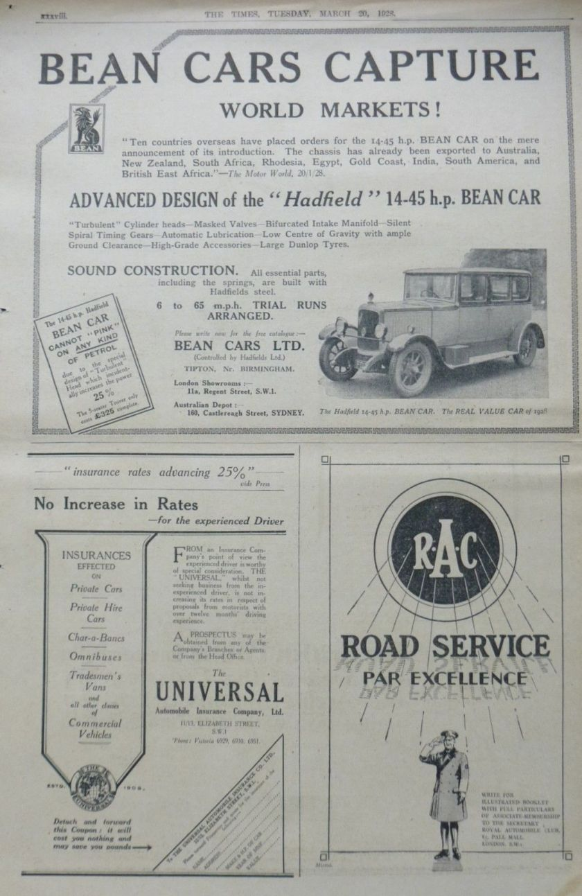 1928 March - CROSSLEY - BEAN - R.A.C. -SIMONS BRITISH MOTOR CAR LONDON TIMES