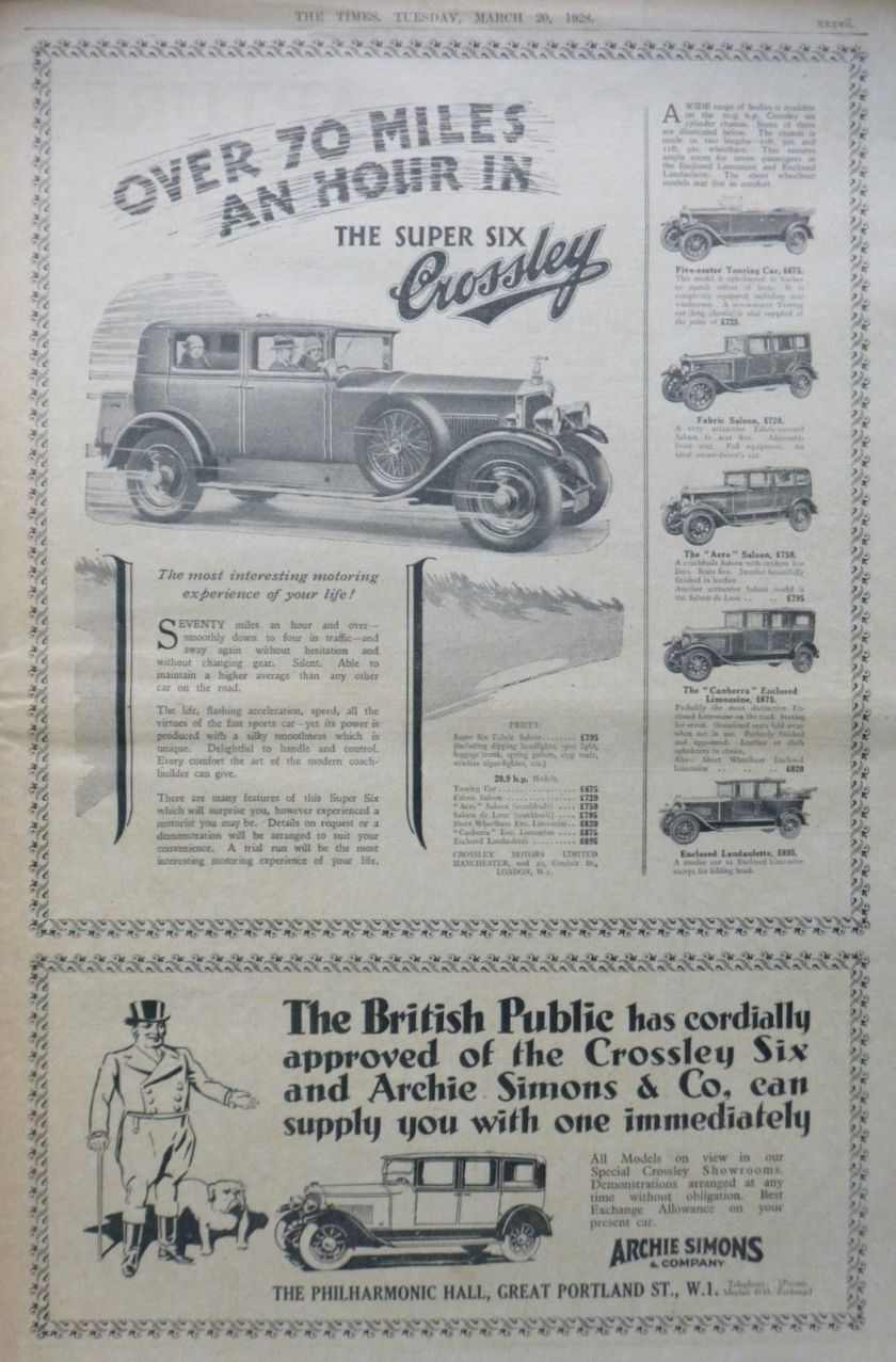 1928 March - CROSSLEY - BEAN - R.A.C. -SIMONS BRITISH MOTOR CAR LONDON TIMESa