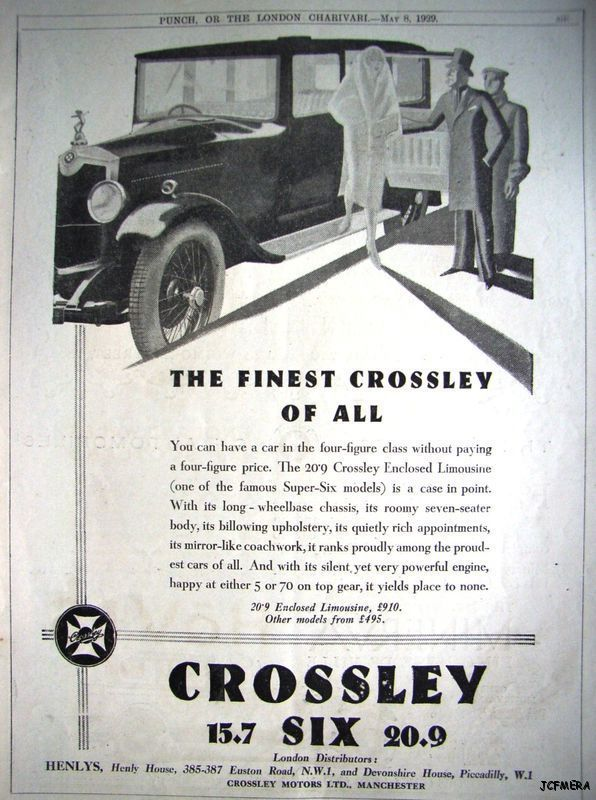 1929 CROSSLEY 'Six' Limousine Auto AD - Vintage Art Deco Car ADVERT
