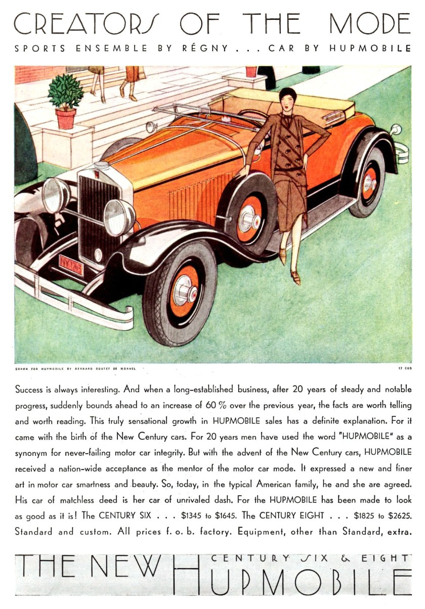 1929 Hupmobile-New-Century-Six-and-Eight-Ad-Art-by-Bernard-Boutet-de-Monvel-1929-02