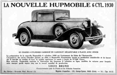 1930 hupmobile 6cyl coupe ad
