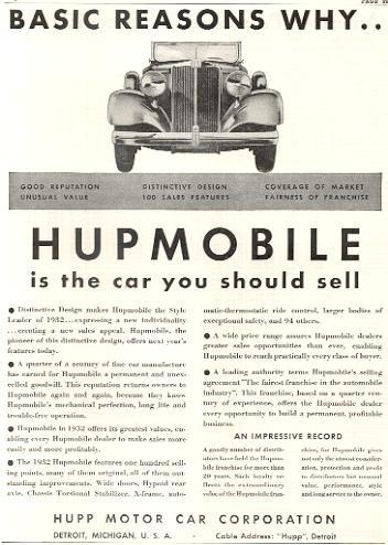 1932 hupmobile ad