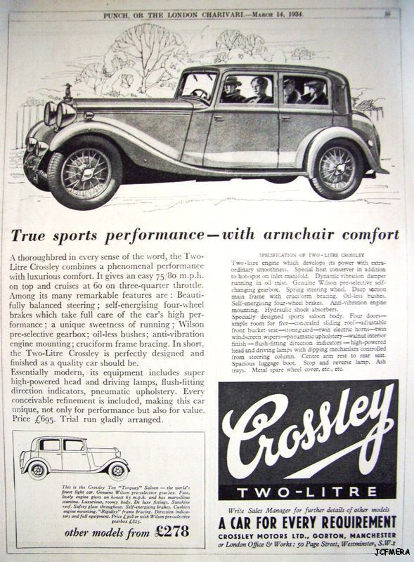 1934 CROSSLEY 'Two-Litre' Auto Print AD - Vintage Car ADVERT
