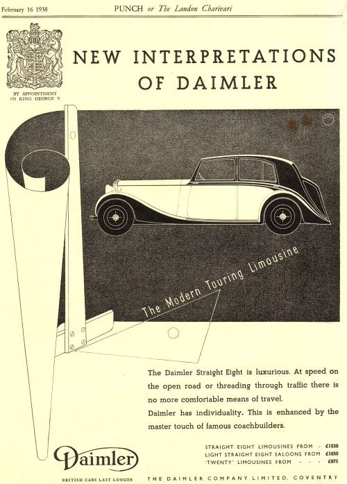 1938 Daimler limo february ad
