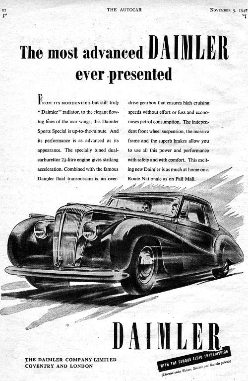 1948 Daimler 2,5litre november ad