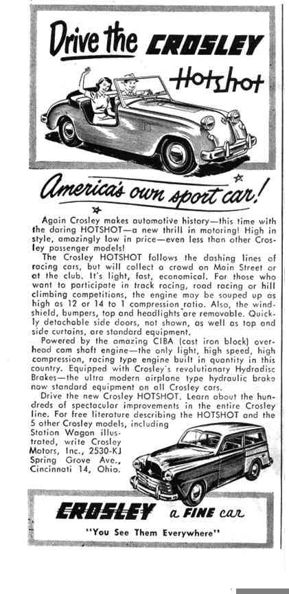 1949 Crossley hot shot ad