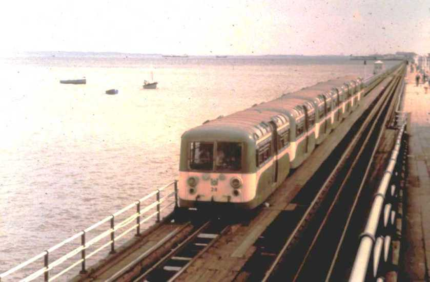 1949 Seven of the 28 Southend Pier Railway cars, built by AC-Cars in 1949 train along pier2