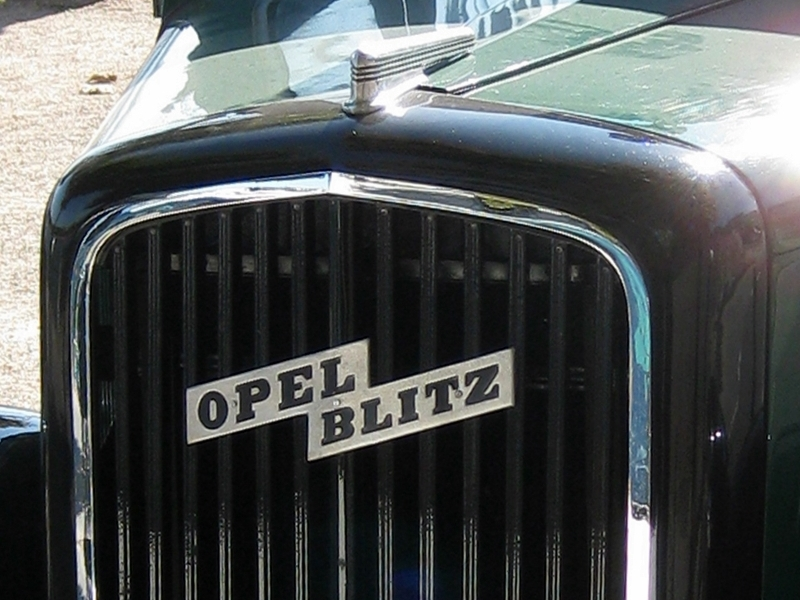 1950s Opel Blitz with words in horizontal lightning