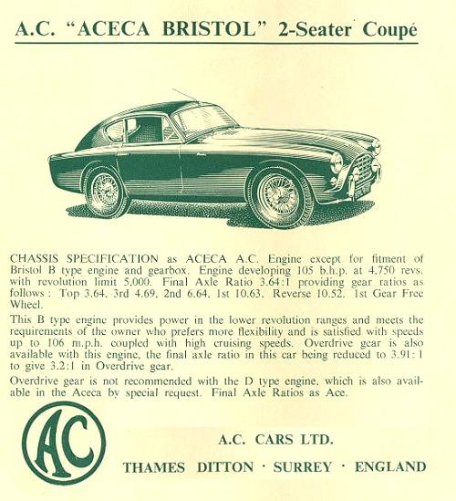 1959 AC aceca Bristol