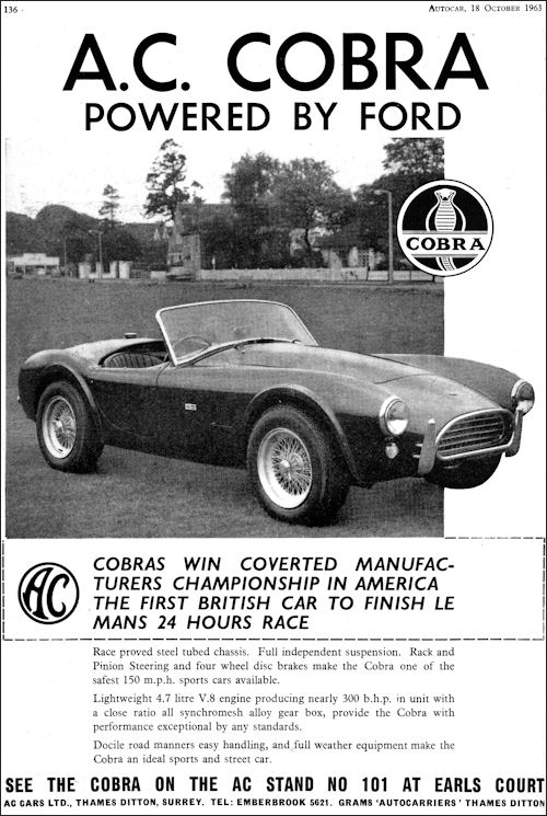 1964 AC cobra 289 competition