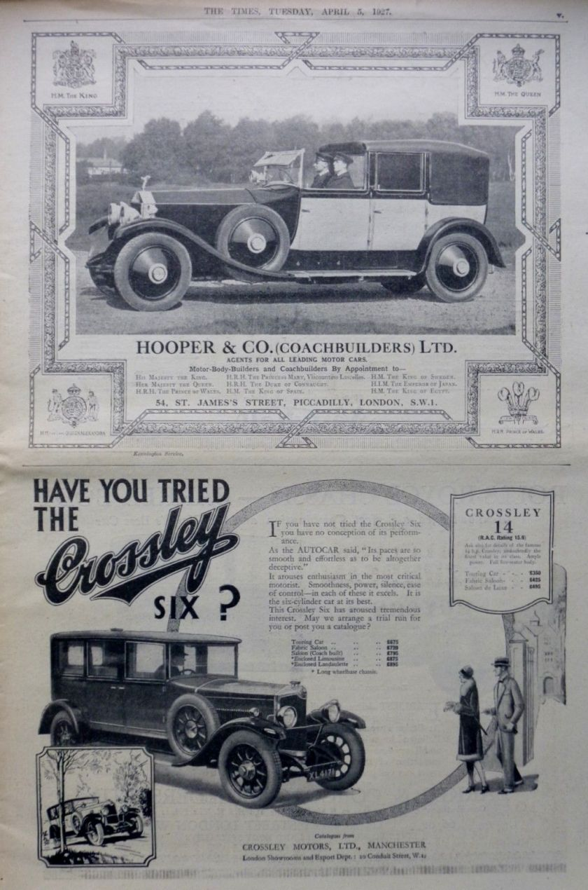 4-1927 April - ROLLS ROYCE CROSSLEY VAUXHALL BRITISH MOTOR CAR - LONDON TIMES