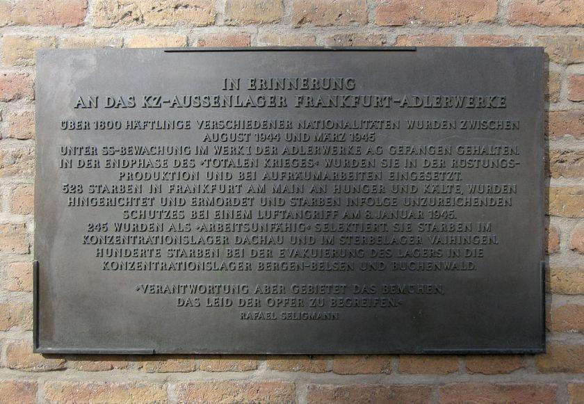 Gedenktafel Adlerwerke