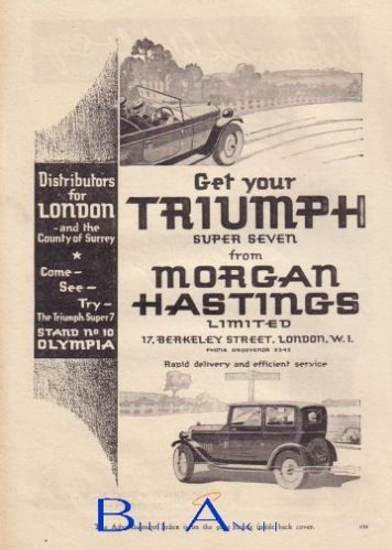 1928 TRIUMPH Super Seven car advert a