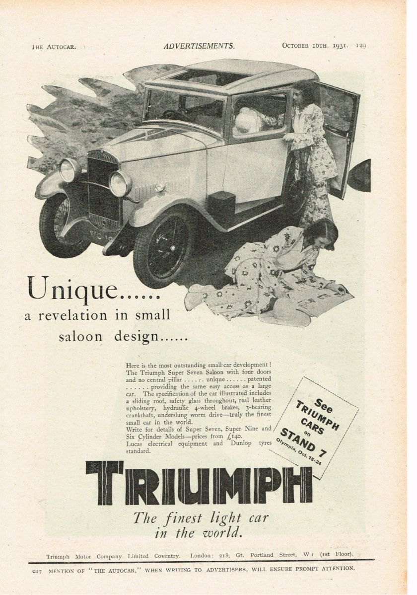 1928 TRIUMPH Super Seven car advert