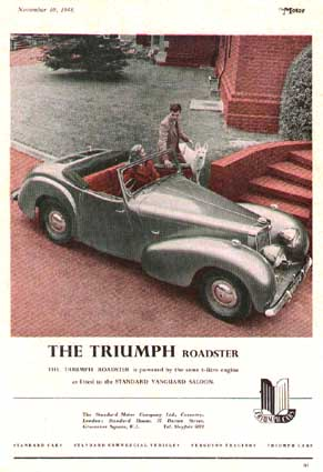 1949 triumph roadster advert
