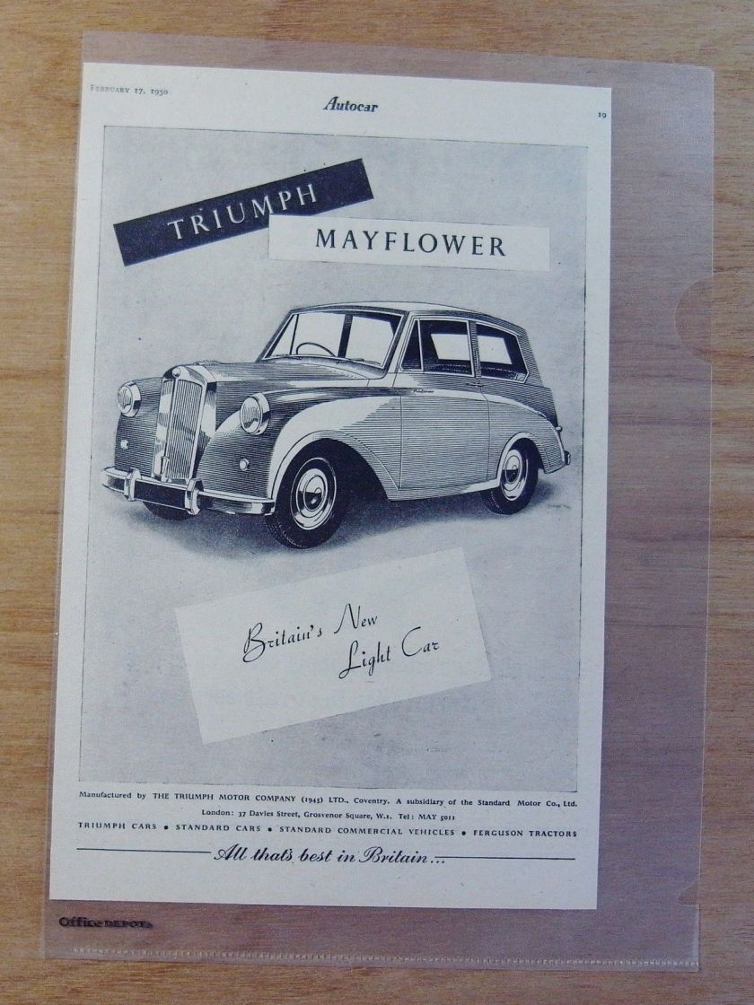 1950 Autocar Magazine Advert - TRIUMPH MAYFLOWER - BRITAIN'S NEW LIGHT CAR