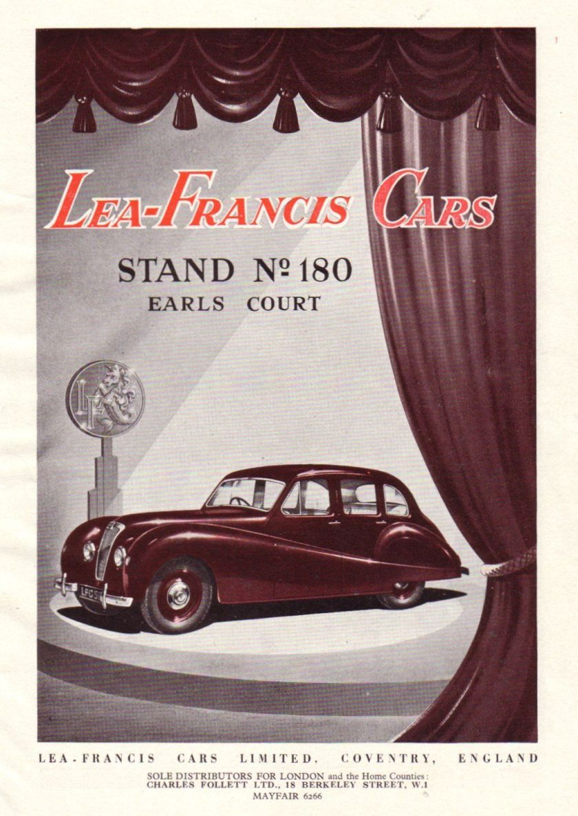 1950 original colour LEA-FRANCIS car advert