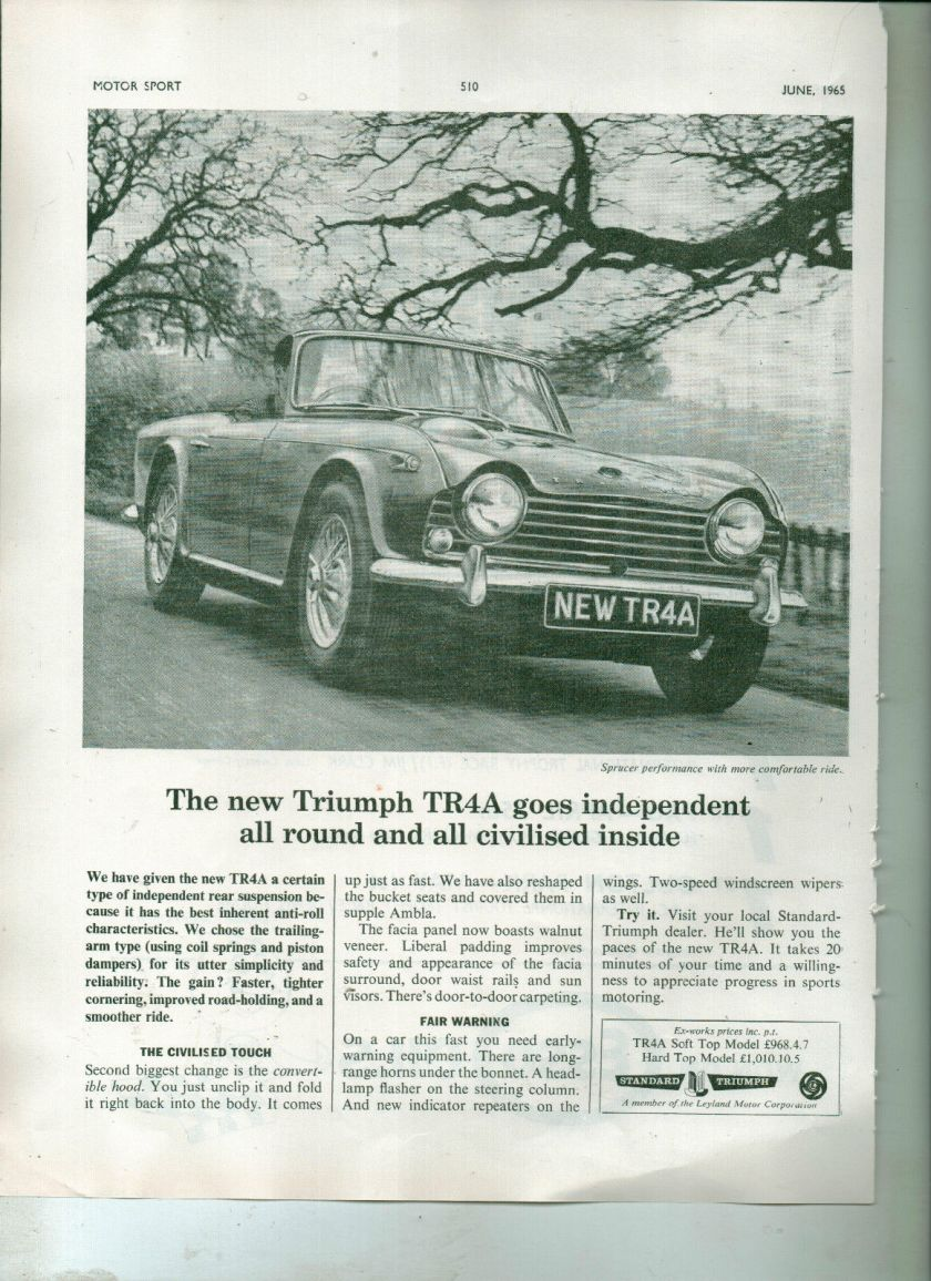 1965 VINTAGE TRIUMPH TR4A CAR ADVERT MAGAZINE
