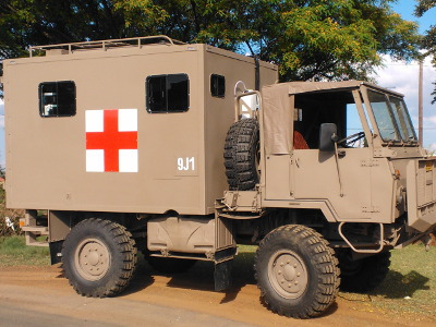 Samil mounted ambulance for the SA Military Health Service.