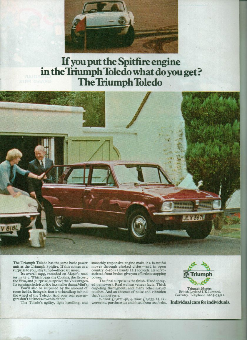 TRIUMPH TOLEDO CAR advert original