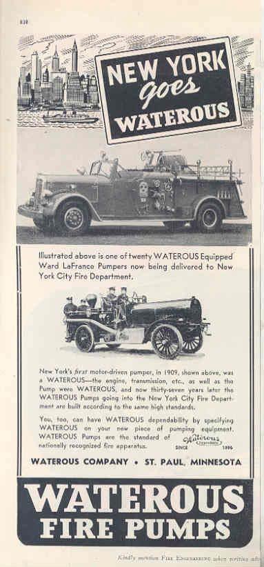 1909 & 1946 Ward LaFrance Waterous Fire Truck Ad