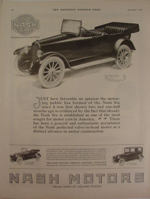 1917 Nash Six Touring Car ~ Roadster ~ Sedan Print Ad
