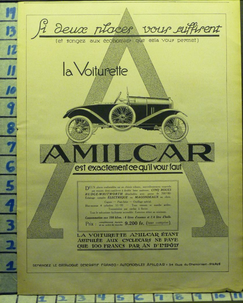 1921 AMILCAR VOITURETTE CAR AUTO FRENCH SPORT MOTOR TRAVEL VINTAGE ART AD DU AD