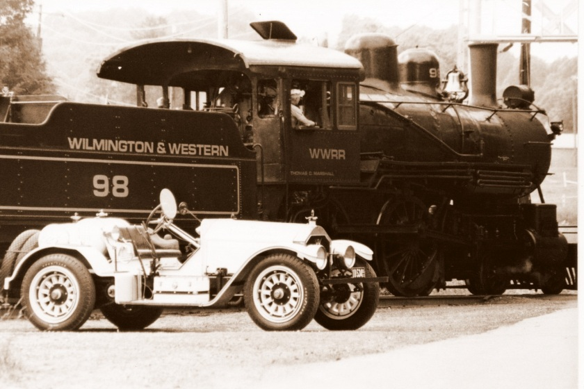 1923 American LaFrance speedster parked alongside the track