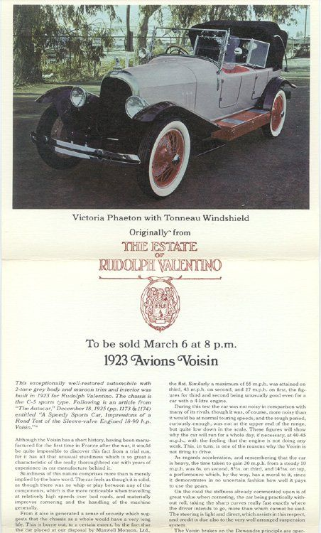 1923 Avion Voisin C5 car Rudolf Valentino