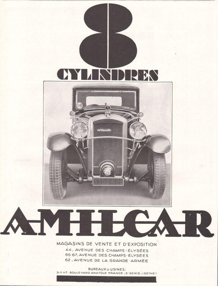 1929 Art Deco Ad Print Amilcar Auto 8 Cylinders