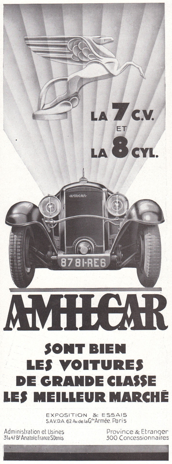 1931 Print Ad Amilcar Autos 7CV 8 Cylinders