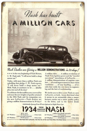 1934 Reproduction 1934 Nash Classic Car Sign