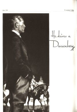 1935 Duesenberg J advertisement published in the magazine Country Life