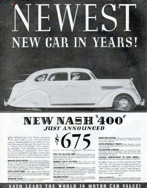 1935 Nash Car Ad --Newest Nash In Years --Nash 400