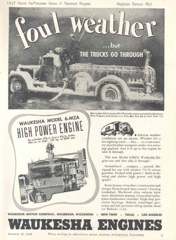 1937 Ward Lafrance FDNY Fire Truck Ad Waukesha engines
