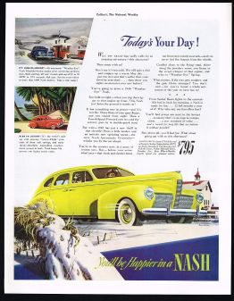 1940 Nash 4 Door Sedan Car You'll Be Happier Print Ad